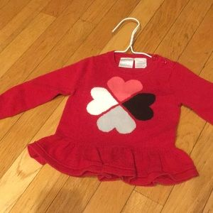 9 mo red sweater w/hearts